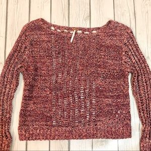 Free People Red Marled Open Knit Cropped Sweater